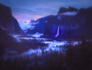 Foggy Blue Hour at Bridal Veil Falls