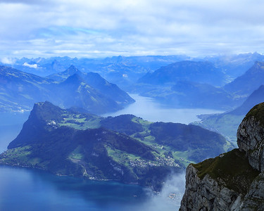 Fog clearing over Lake Lucerne