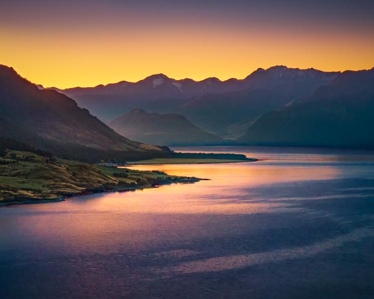 First Morning Light on Lake Hawea (New Zealand)