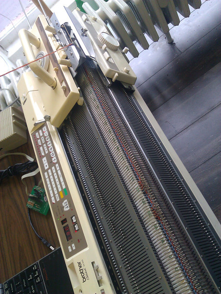 knitting double bed jacquard on the knitting machine