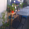 balcony cafe table, plant table   plants