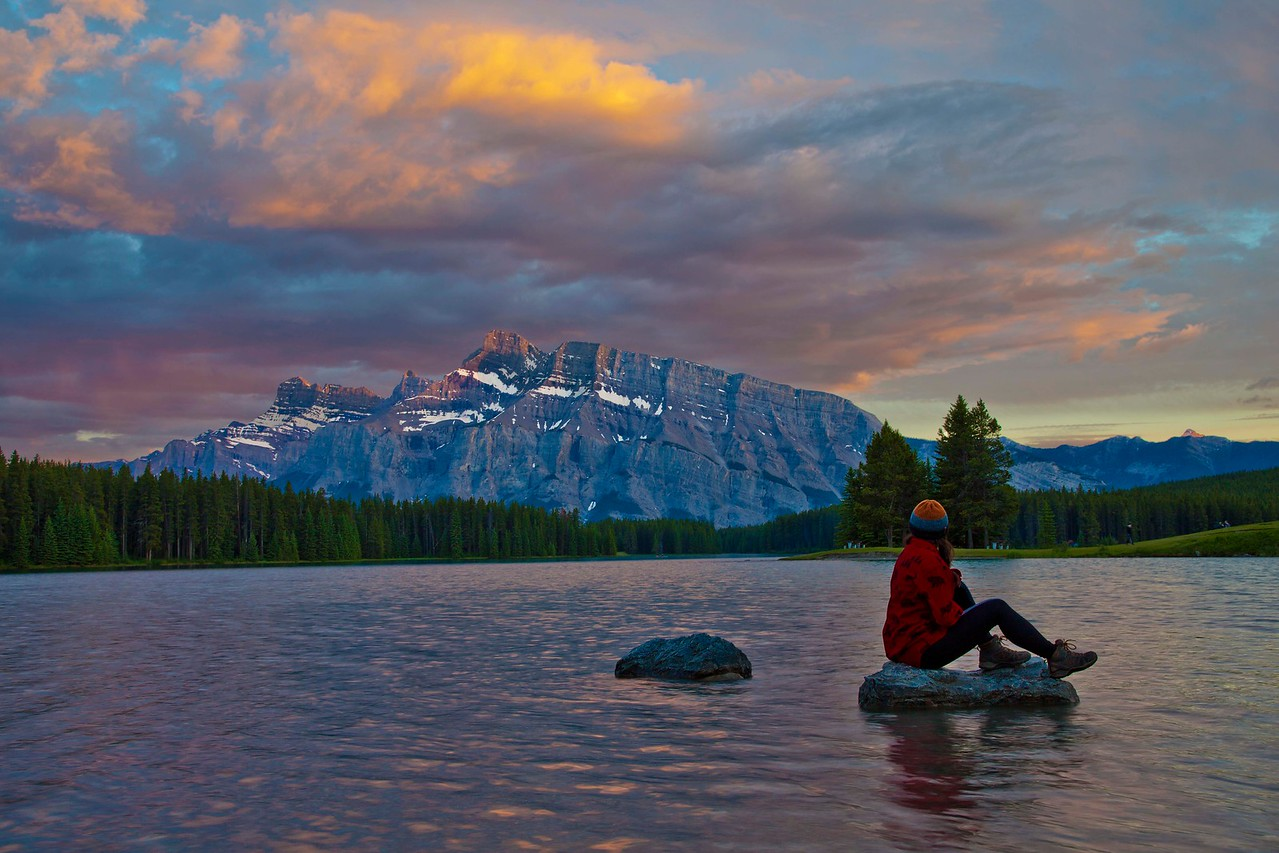 Sunset,  Two Jack Lake, Mount Rundle