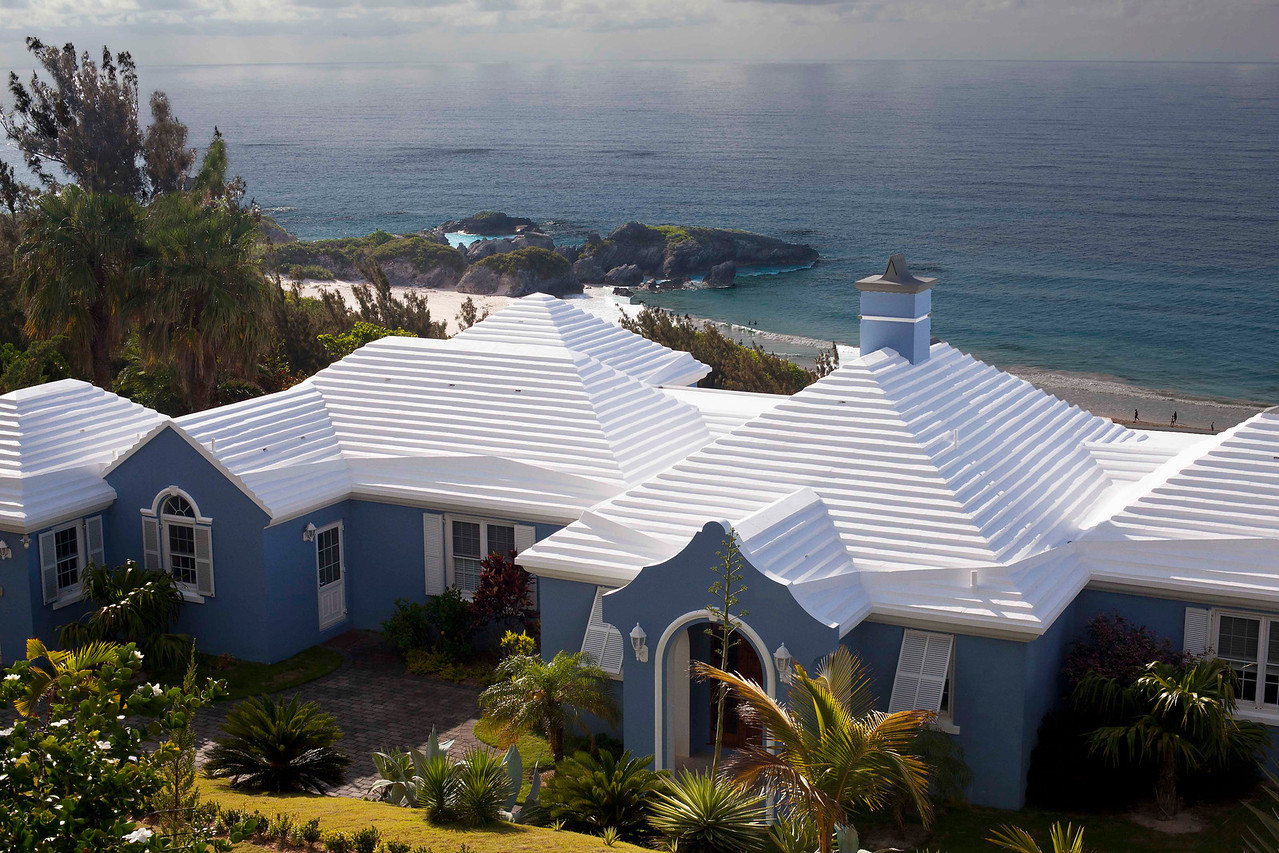Bermudian Roof.  The homes in Bermuda rely solely on water collected from the rain flowing over these roofs and into pipes and catch basins.