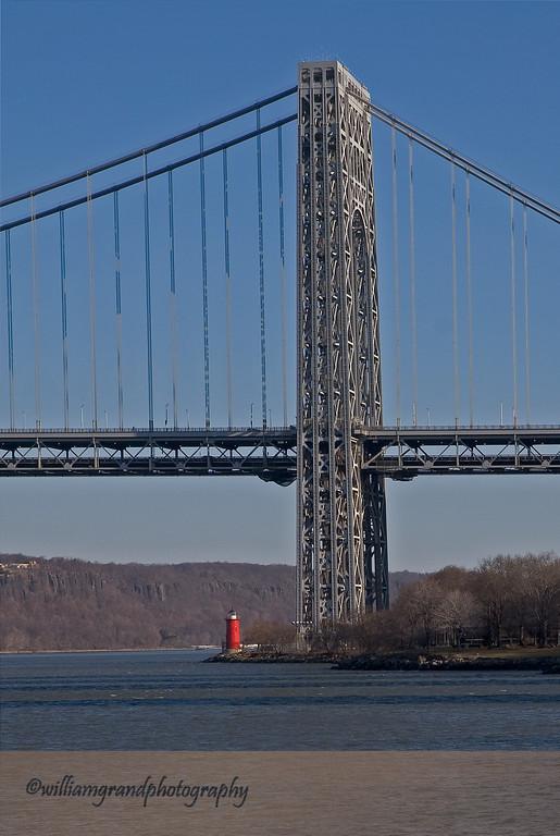 George Washington Bridge and Little Red Lighthouse