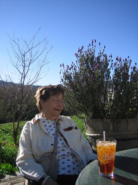 grandmaman enjoying some iced tea
