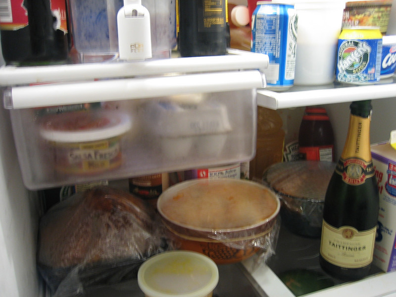 the leftovers dominate the fridge