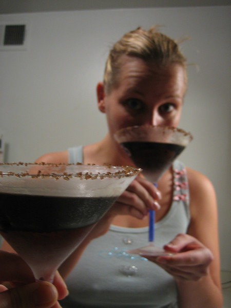 riss tastes a spooktini rimmed with chocolate sugar