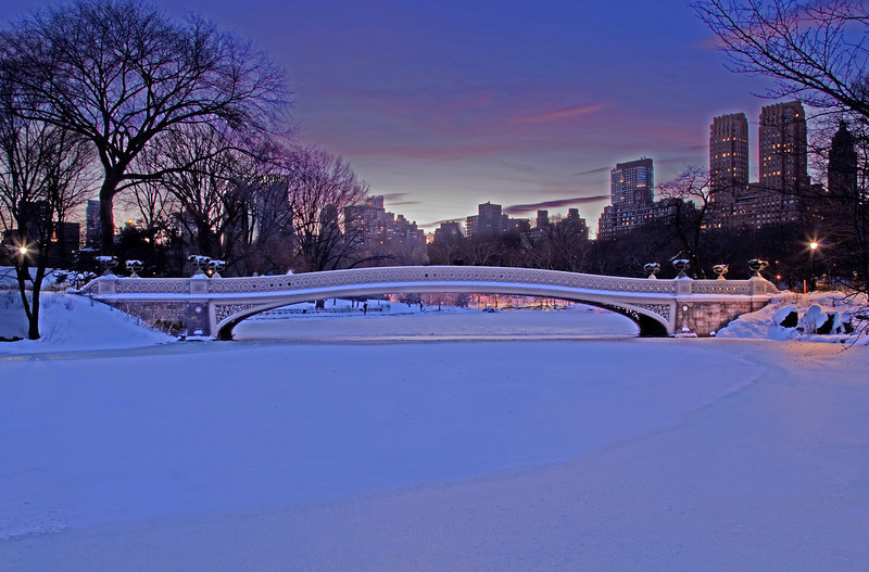Sunset Over Bow Bridge after the Snowfall