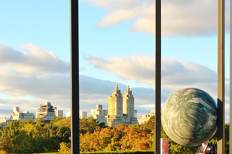 "View of Central Park from Metropolitan Museum's Rooftop Exhibit  called ""Parapivot"" by Berlin-based artist Alicja Kwade"