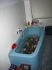 label-less club-mate in a blue tub