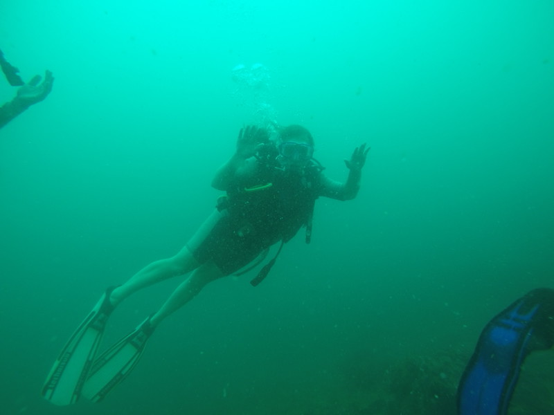 me scuba diving at mid wall in puerto viejo in costa rica. i got my open water cert on this day!
