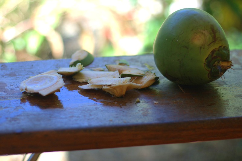 pipa, green coconut with coconut water inside and some young flesh