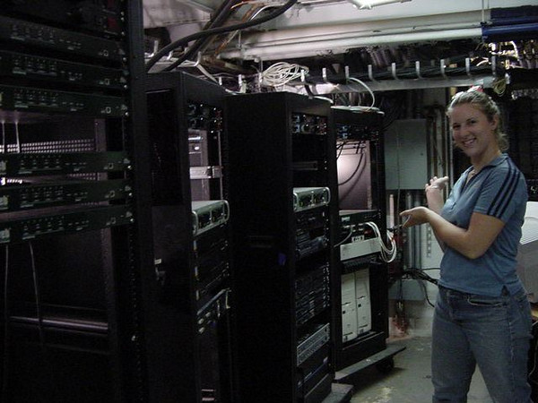 kelly shows off the uncabled racks