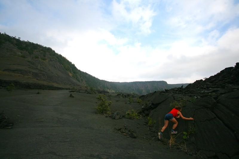ellen tests the rock climbability (it was sharp)