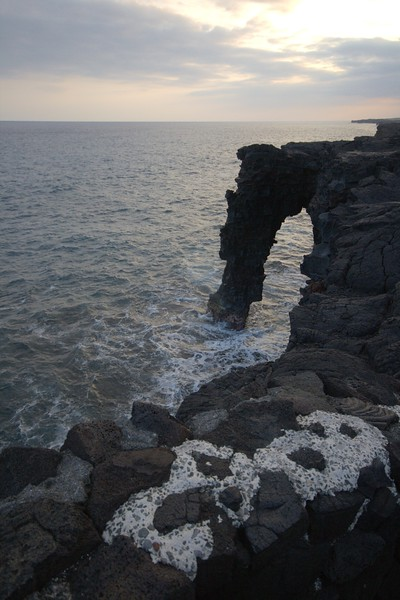 one of several natural arches at Volcanoes National Park