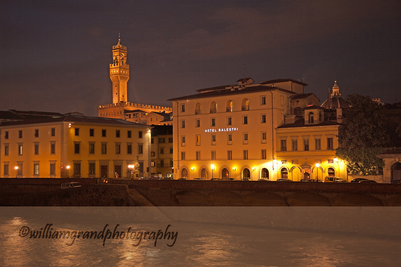 "Night View of the ""Right Bank,"" with view of the tower of the Palazzo Vecchio on the left, and the Duomo on the right."
