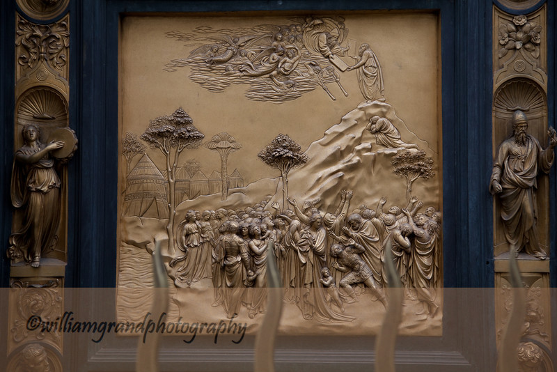 "Panel from Ghiberti's ""Gates of Paradise.""  Ghiberti worked for 27 years on the East Doors of the Bapistery that contain ten panels depicting scenes from the Old Testament."