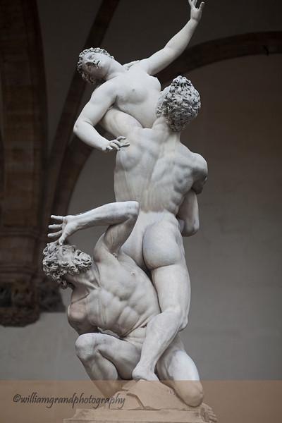 """Giambologna's marble sculpture, """"Rape of the Sabine Women,"""" placed in the Loggia of the Piazza della Signoria in 1583."""