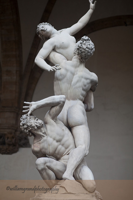 "Giambologna's marble sculpture, ""Rape of the Sabine Women,"" placed in the Loggia of the Piazza della Signoria in 1583."
