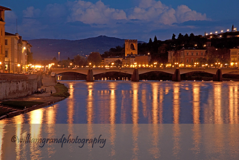 Night View of the Ponte Grazie Bridge from the Ponte Vecchio