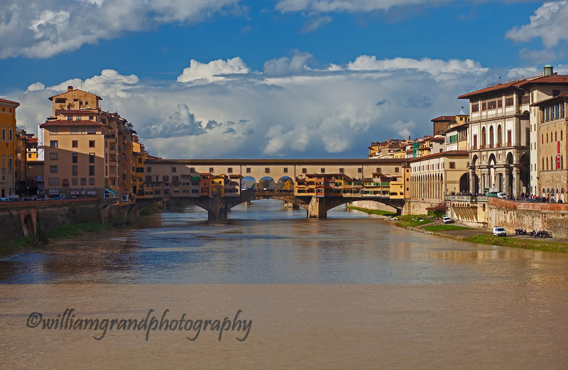 View of the Ponte Vecchio looking West.