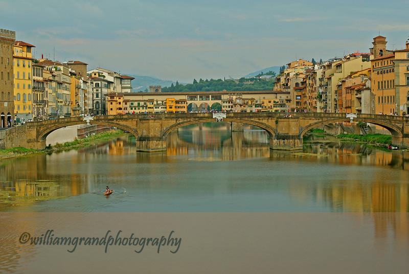 View of Ponte Santa Trinita (foreground) and Ponte Vecchio (background) looking East.