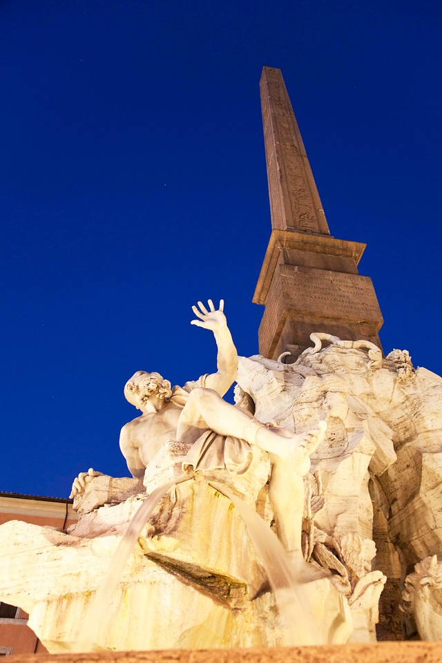Portion of Fountain of Four Rivers at Night, Piazza Navona