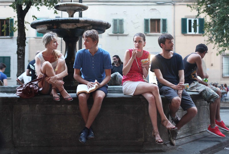 Relaxing from Summer Studies in Piazza Santo Spirito
