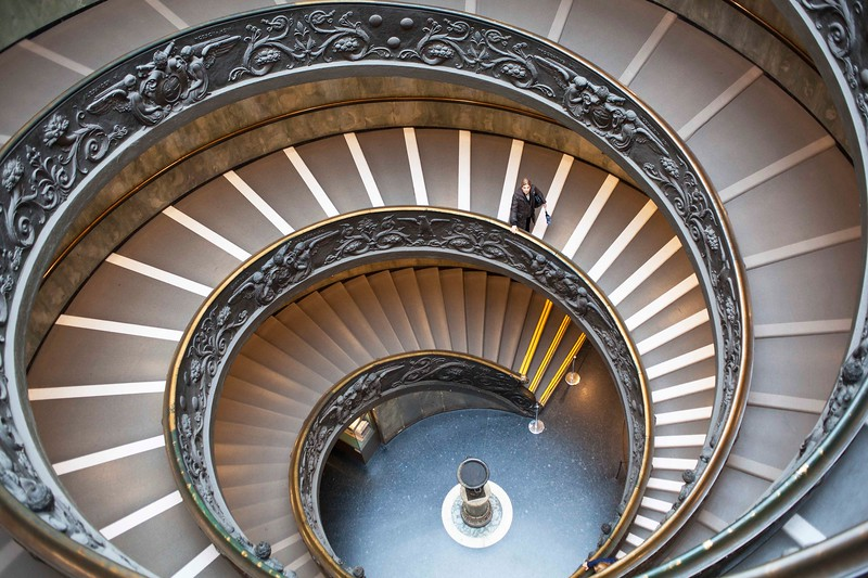 Rare Lone Walker on the Bramanti Spiral Staircase of the Vatican Museum