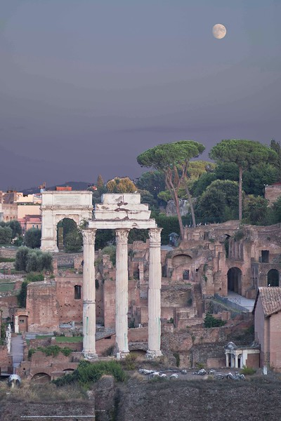 Another view of a portion of the Forum, after the moonrise.