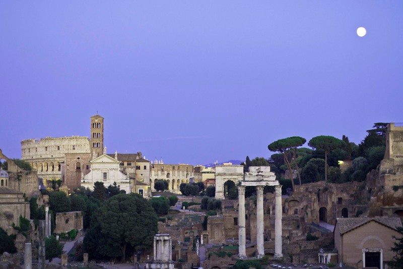 Another view, encompassing part of the Forum and the Colosseum, taken after moonrise.