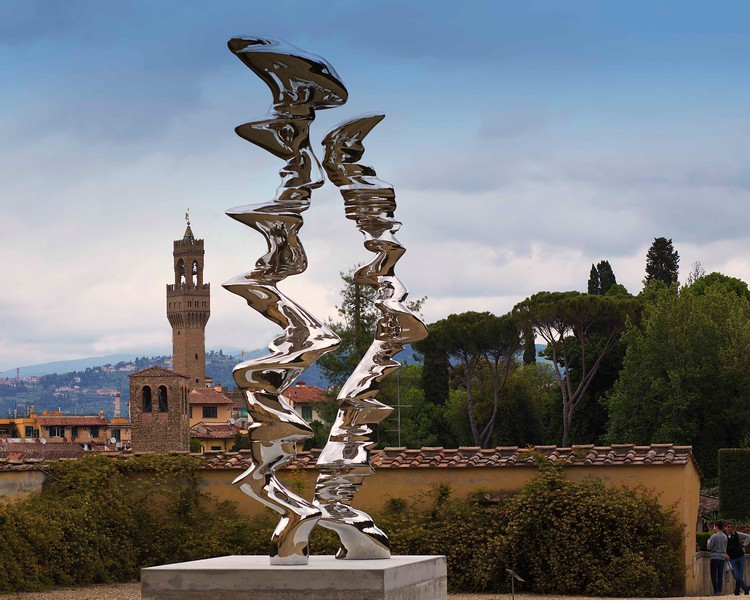 "Tony Cragg Sculpture Exhibit at the Boboli Gardens in Florence. ""Elliptical Columns,"" one of his many sculptures on display."