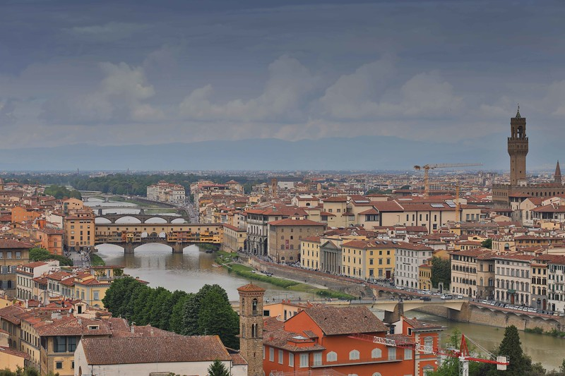 View of Palazzo Vechhio and Ponte Vechhio, Florence