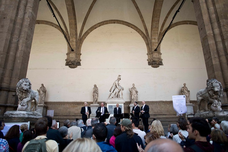 Free Performance by the Brass of the Maggio Musicale Fiorentino, May 2, 2019, at the Loggia dei Lanzi