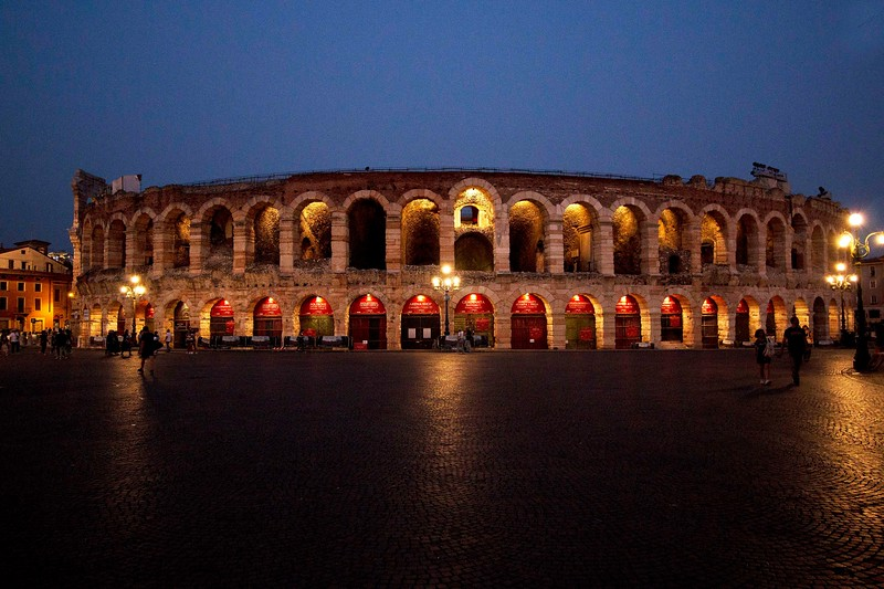 On to Verona. This is the Arena di Verona, built in the first century, predating the Colosseum in Rome. Today, large scale opera performances take place during the summer months in the Arena.