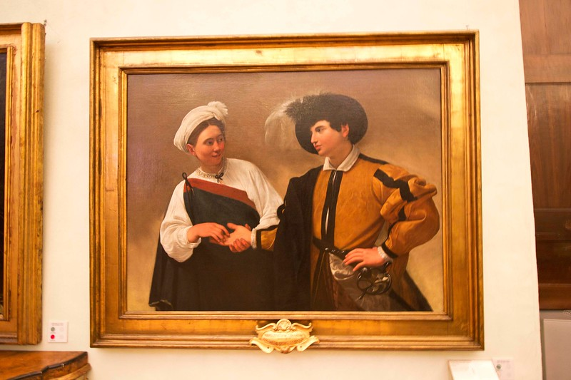 "Caravaggio Painting in the Capitoline Museum, ""The Fortune Teller."""