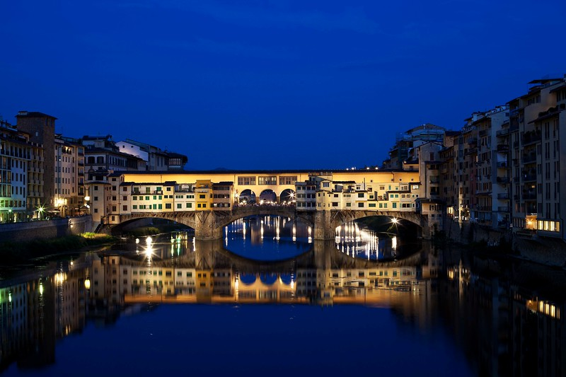On to Florence. Photo of Ponte Vecchio at dusk.