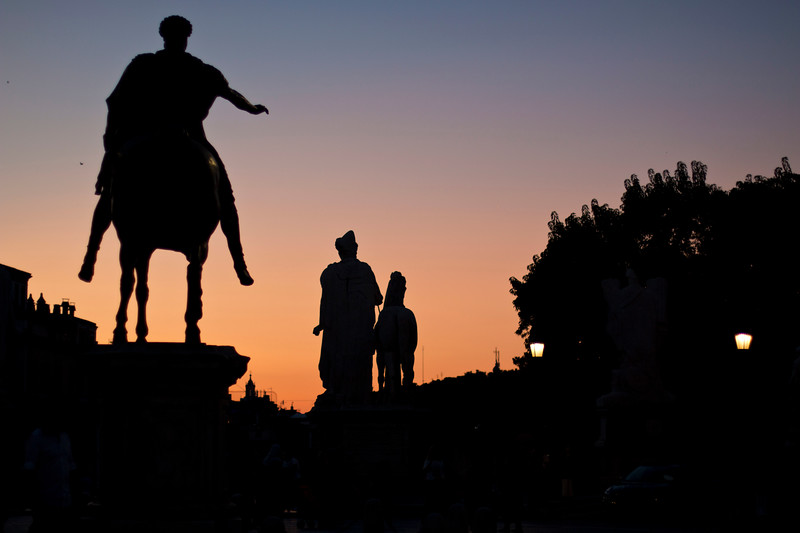 Statue of Marcus Aurelius outside the Capitoline Museum, taken at sunset.