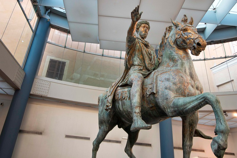 "Inside the Capitoline Museum is the original Marcus Aurelius statue. Aurelius, the last of the five ""good"" emperors, was also a philosopher, known for  his work ""Meditations."" He was born in 121 A.D."