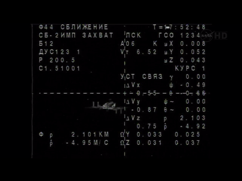 soyuz approaching the iss: screenshot from nasa tv
