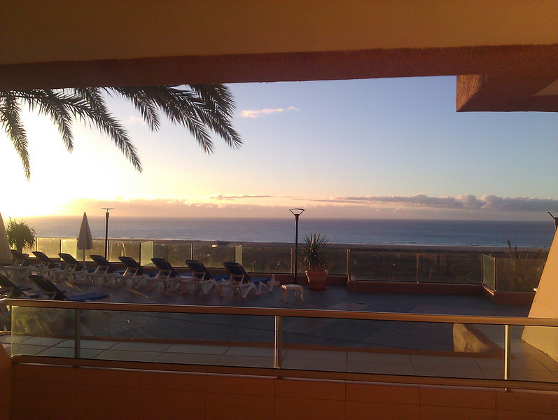 sunrise from the hotel, view to the beach playa de jandia
