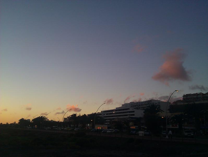 sunset and resorts at playa de jandia