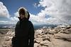 SkyTee bundled up in June on top of Mt. Evans