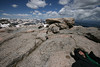 Skytee, the 14,253 feet above sea level marker, and the rockies on Mt. Evans