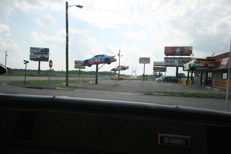 The Pit Stop with cars in the air (Missouri?)