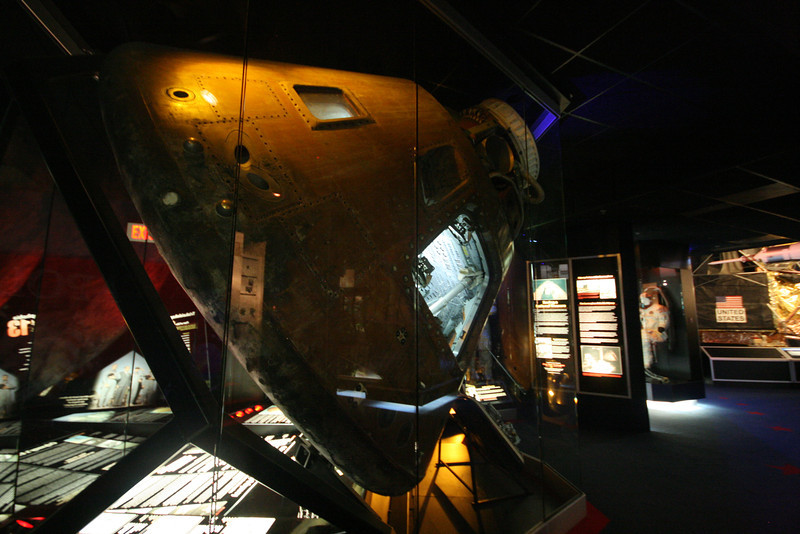 top of actual restored apollo 13 command module, space flown