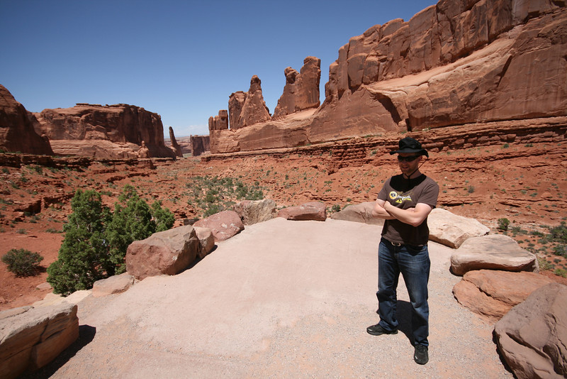 the Park Avenue lookout point in Arches National Park, a SkyTee for scale