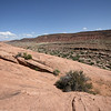 view of the cliffs with a green mineral at Arches National Park