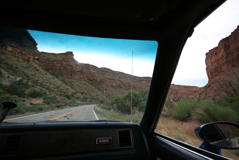driving through the red cliffs