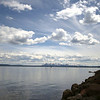 yellowstone lake and the mountains in the background